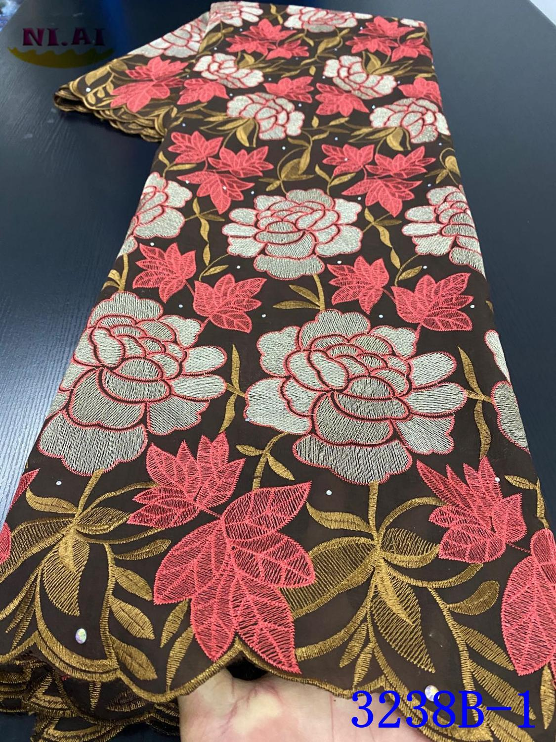 NIAI African Lace Fabric 2020 High Quality Lace Swiss Voile Lace In Switzerland Nigerian Cotton Lace Fabric With Stone XY3238B-1