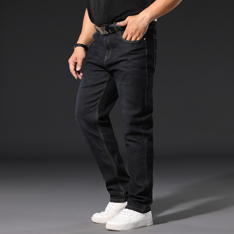 Plus Size 44 46 48 50 52 Classic Men's Loose Straight Jeans Business Casual Denim Stretch Trousers Male Brand Black Blue Pants