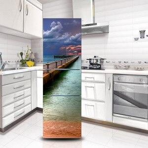 3D наклейки на холодильник с природными пейзажами, настенные двери, съемные наклейки из ПВХ, виниловые художественные наклейки на стену, Нас...