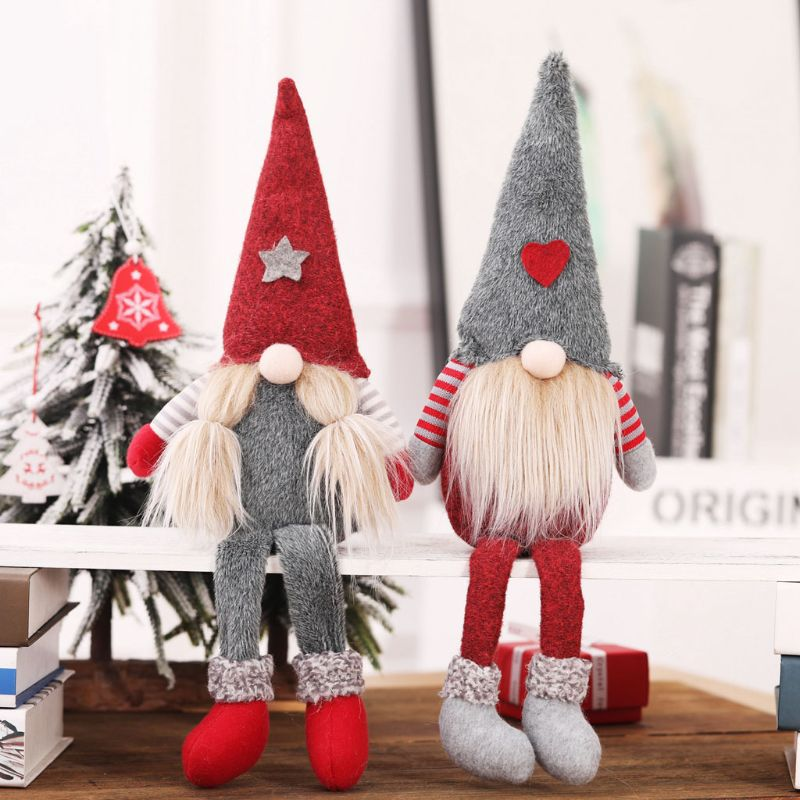 Christmas Handmade Swedish Gnome Santa Standing Plush Doll Ornaments Xmas Holiday Home Party Decor Kids Toy Gift