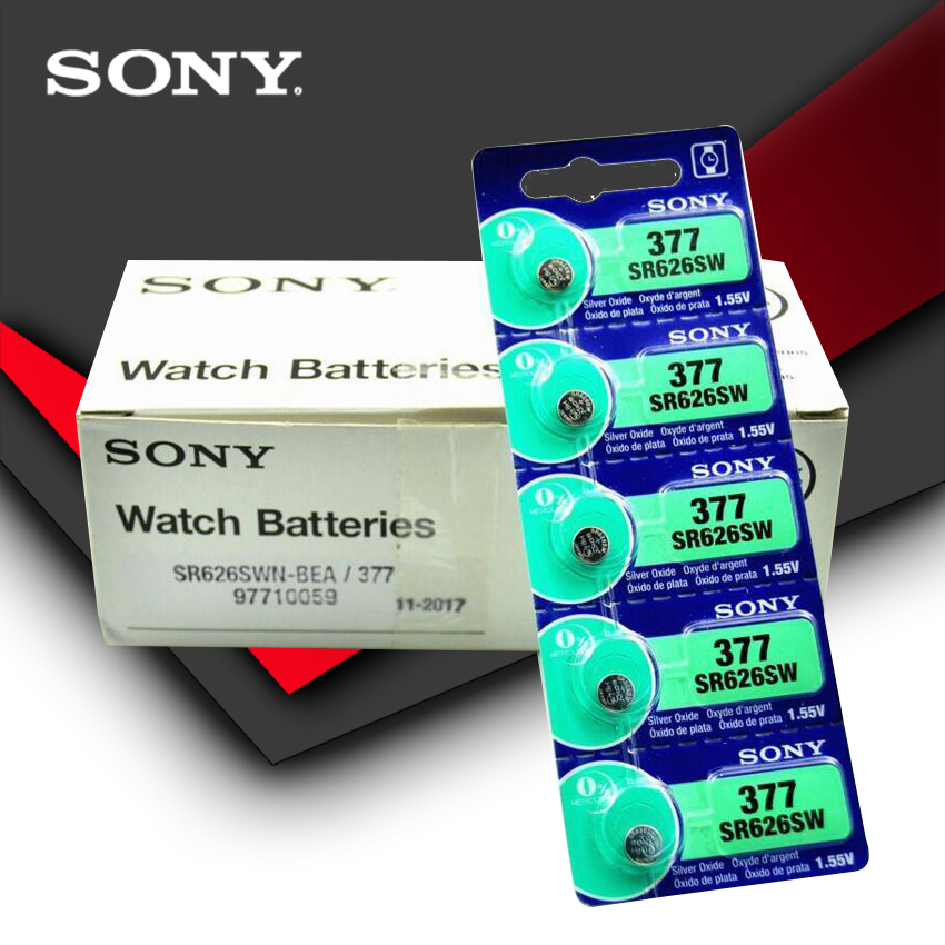 200pcs Sony 100% Original 377 SR626SW SR626 AG4 1.55V Silver Oxide Watch Battery SR626SW 377 Button Coin Cell MADE IN JAPAN