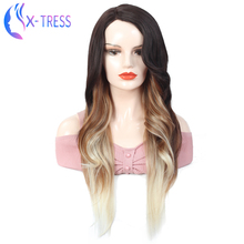 Mixed Colored Synthetic Lace Part Wig Black Blond Brown Cosp