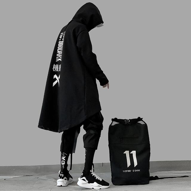 japanese sweatshirt Mens Oversize Hoodies Long Cloak Hip Hop Gothic Outwear Streetwear Coat Harajuku Style Male Tops michalkova 3