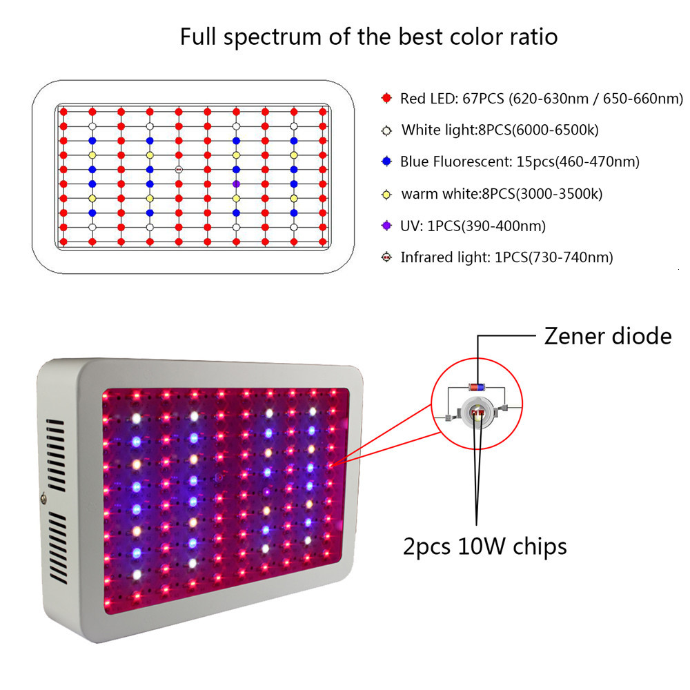 Professional Plant Lamp Double Chips Greenhouse Plants Growth Uv Ir Led Grow Light 1000w - 3