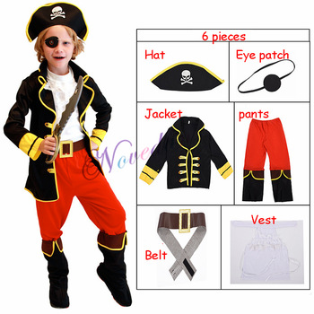 Fantasia Infantil Halloween Costume Child Jake Pirates Costume Kids Birthday Party Fancy Dress For Girls Boys kids birthday halloween party gift new child boy deluxe star wars the force awakens storm troopers cosplay fancy dress kids hall