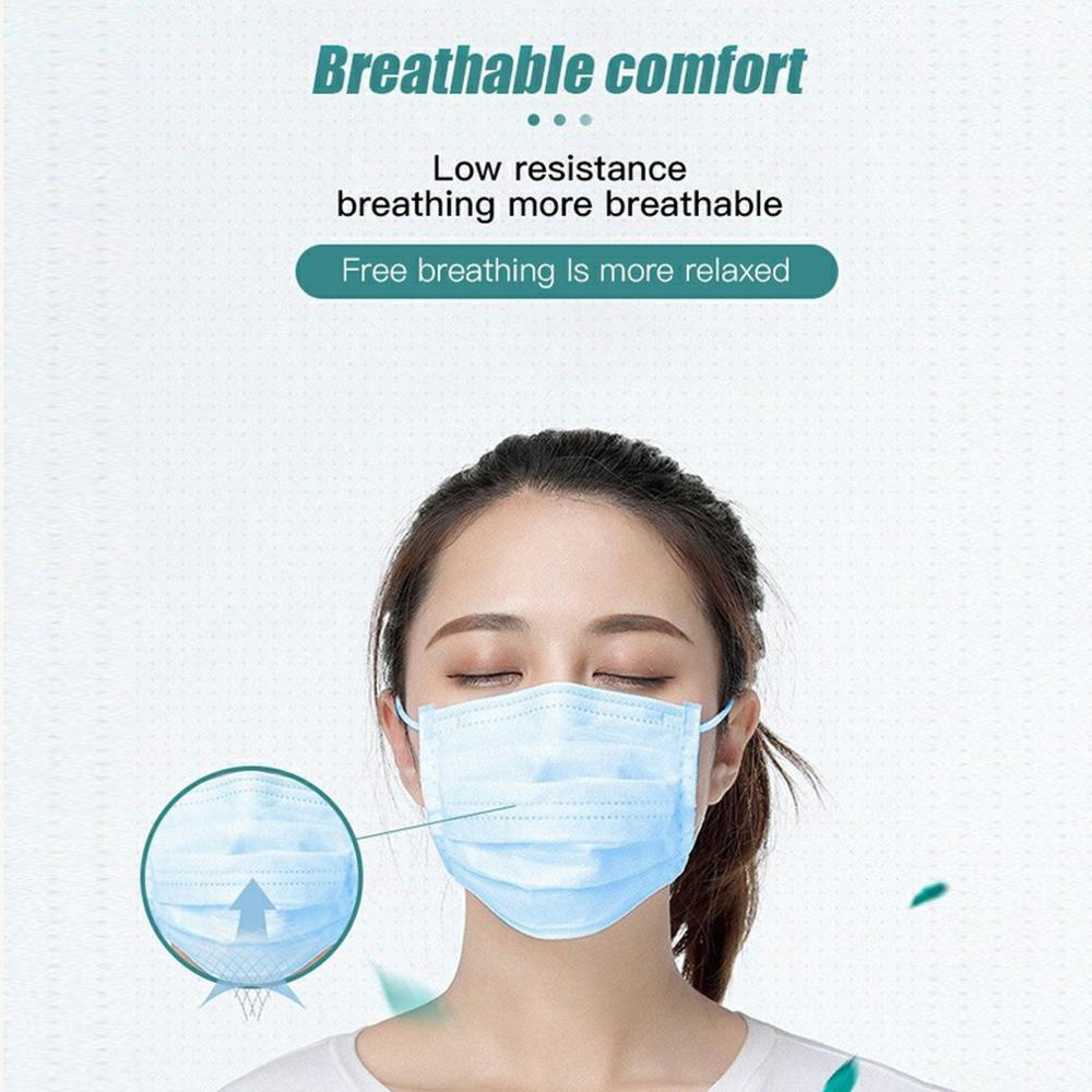 Disposable Daily Protective Meltblown Non-woven Masks Dust-proof Face Breathable Three Layers Of PM2.5 Dust Mask 20 Pcs