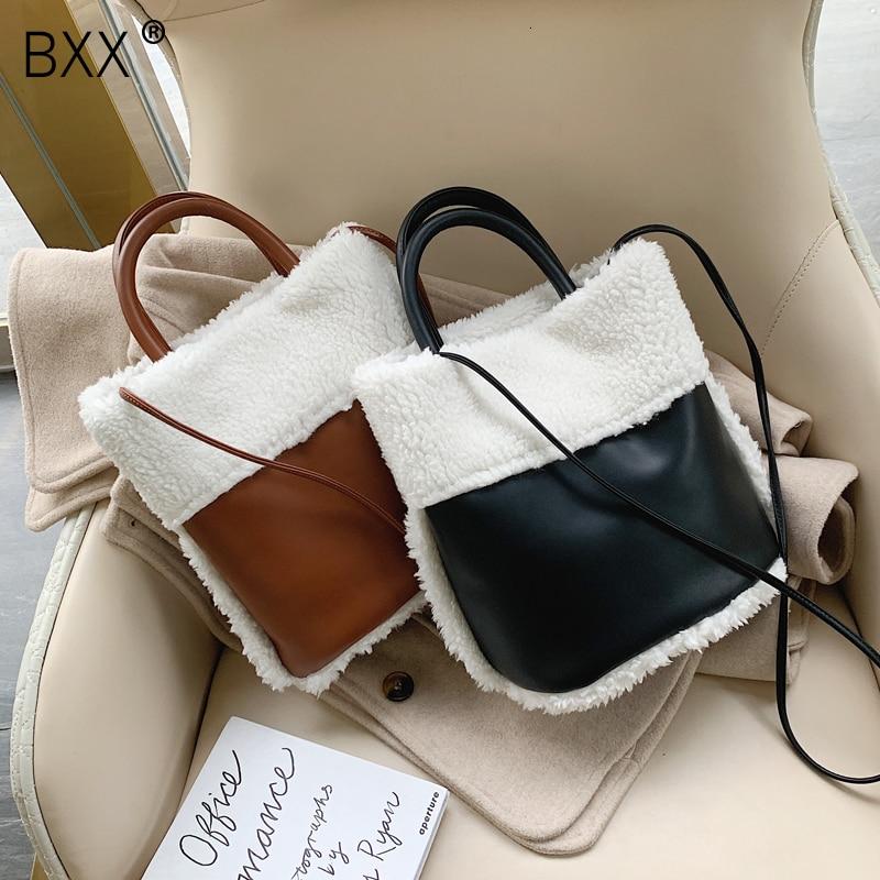 [BXX] Faux Fur PU Shoulder Bags For Women 2020 Winter Warm Crossbody Messenger Bag Female Travel Solid Color Handbags HJ442