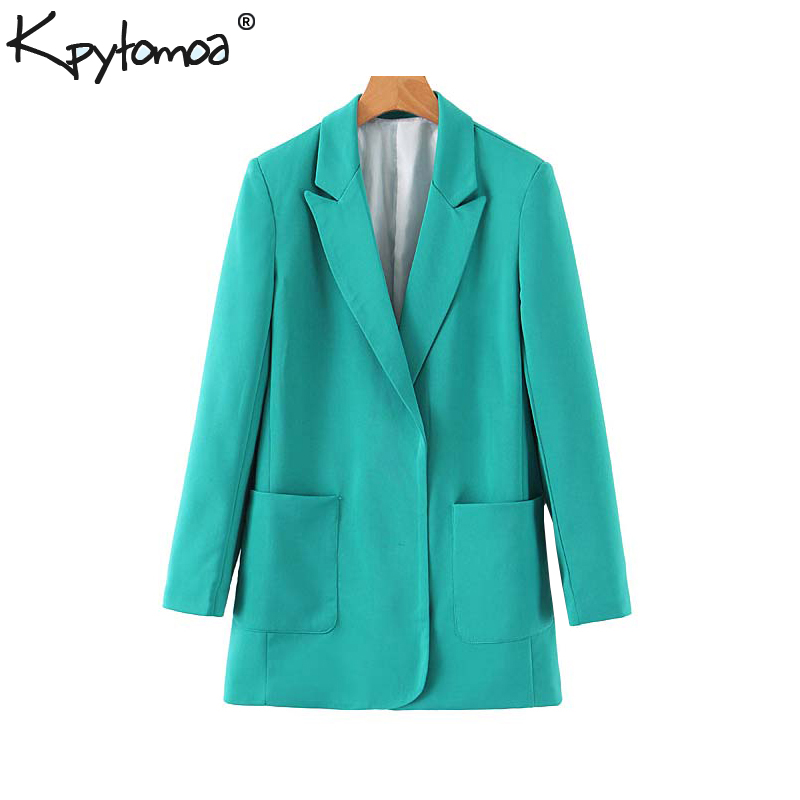 Vintage Stylish Office Lady Solid Blazers Coat Women 2019 Fashion Notch Collar Long Sleeve Outerwear Casual Chaqueta Mujer