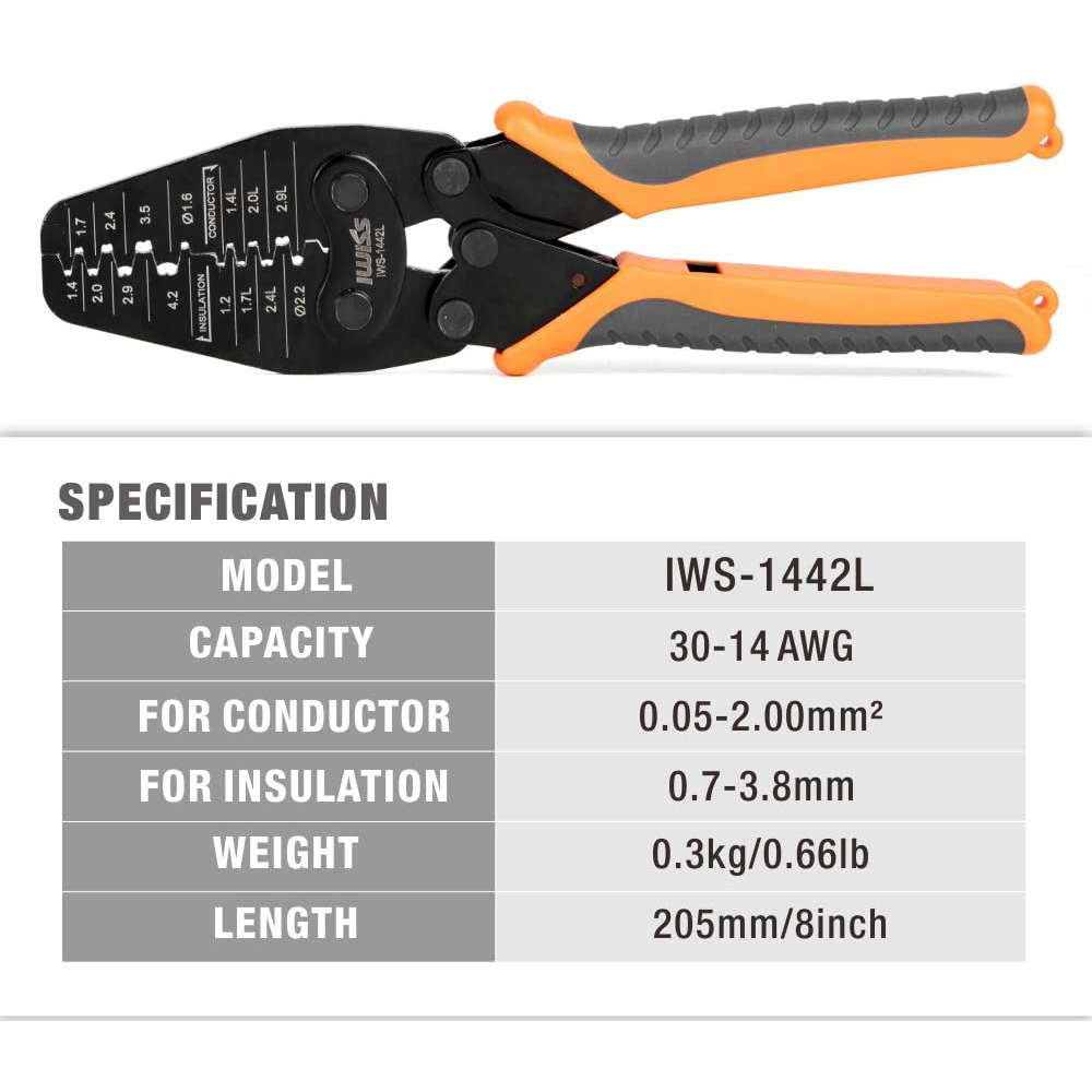 Tools : IWISS IWS-1442L Micro Connector Crimper Plier for Crimping AWG30-14 Open-barrel and Connectors from MolexTE AMPJSTJAEHRS