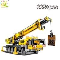 665Pcs Engineering Derrick Car Model Building Blocks Legoing DIY Crane Technic City Construction Bricks Toys Children