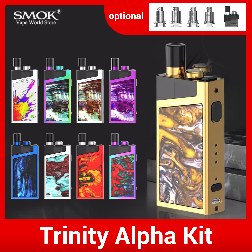 Vape Original SMOK Trinity Alpha Pod System Kit Box Mod 1000mah Battery Cigarette Electronique Cartridge 2.8ml Elektronik Sigara