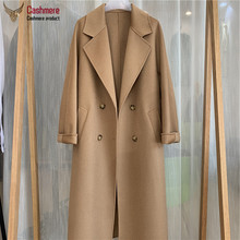 Winter long coat female wool coat women water ripple cashmere coat women new autumn loose double breasted coat women commuter cheap OKOUFEN CN(Origin) 6217 Ages 18-35 Years Old Turn-down Collar Regular Full Wool Blends Pockets Sashes 20 cashmere + 80 wool