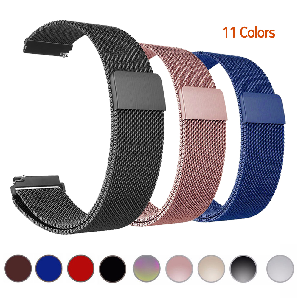 Milanese Loop Watch Band For Samsung Galaxy 46mm Watch Amazfit Pace Bip Xiaomi Huami Bands Strap 20mm 22mm 23mm 18mm Bracelet
