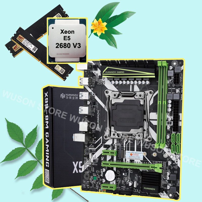 HUANANZHI X99 LGA2011-3 motherboard bundle discount motherboard with M.2 NVMe slot CPU Xeon E5 2680 V3 RAM 32G(2*16G) DDR4 2400 1