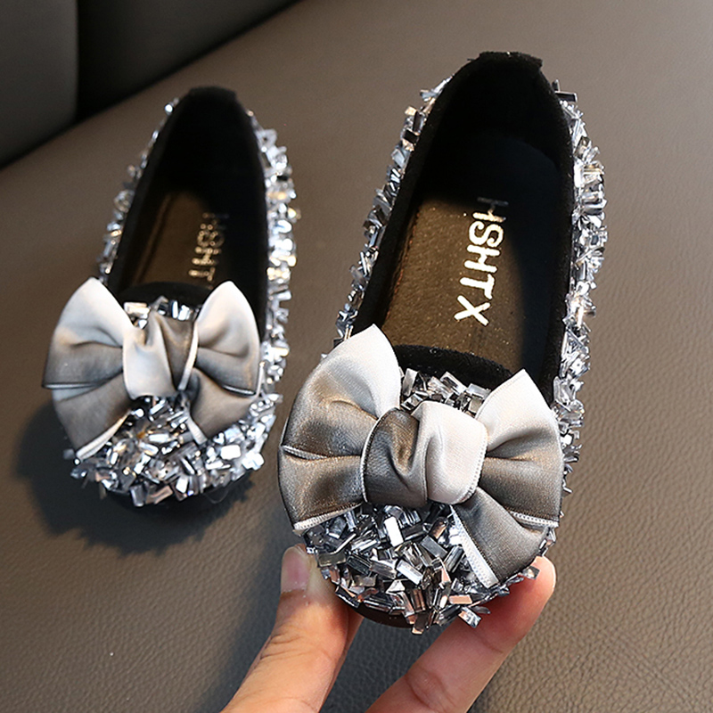 2020 Autumn New Girls Shoes Korean Bow Rhinestone Children Princess Shoes Girls Fashion Wild Soft Sole Light Princess Shoes