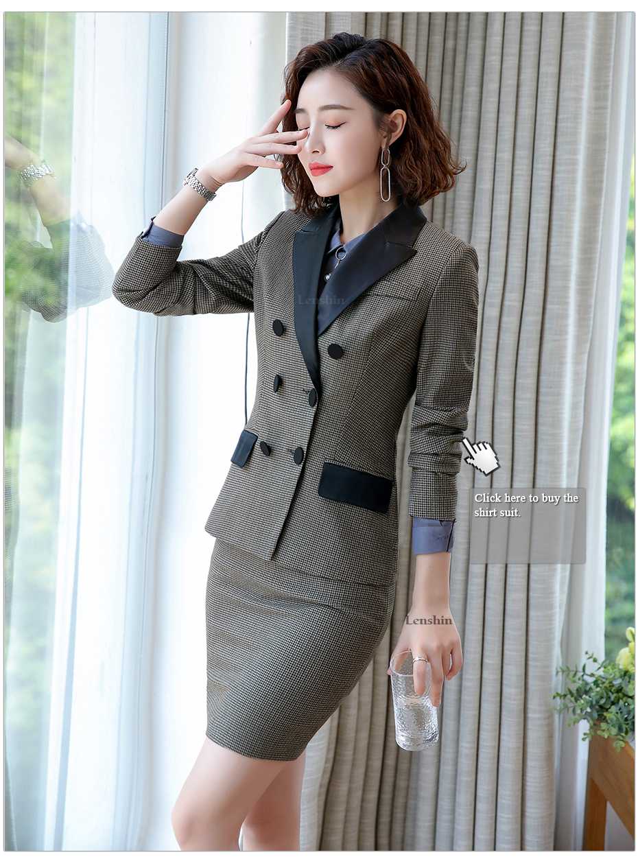 Lenshin High-quality 2 Piece Set Houndstooth Formal Pant Suit Blazer Office Lady Design Women Soft Jacket and Full-Length Pant 39