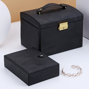 Image 2 - חדש תכשיטי תיבת גדול קיבולת עור אחסון תכשיטי תיבת עגיל טבעת שרשרת עם מראה שעון תכשיטי ארגונית