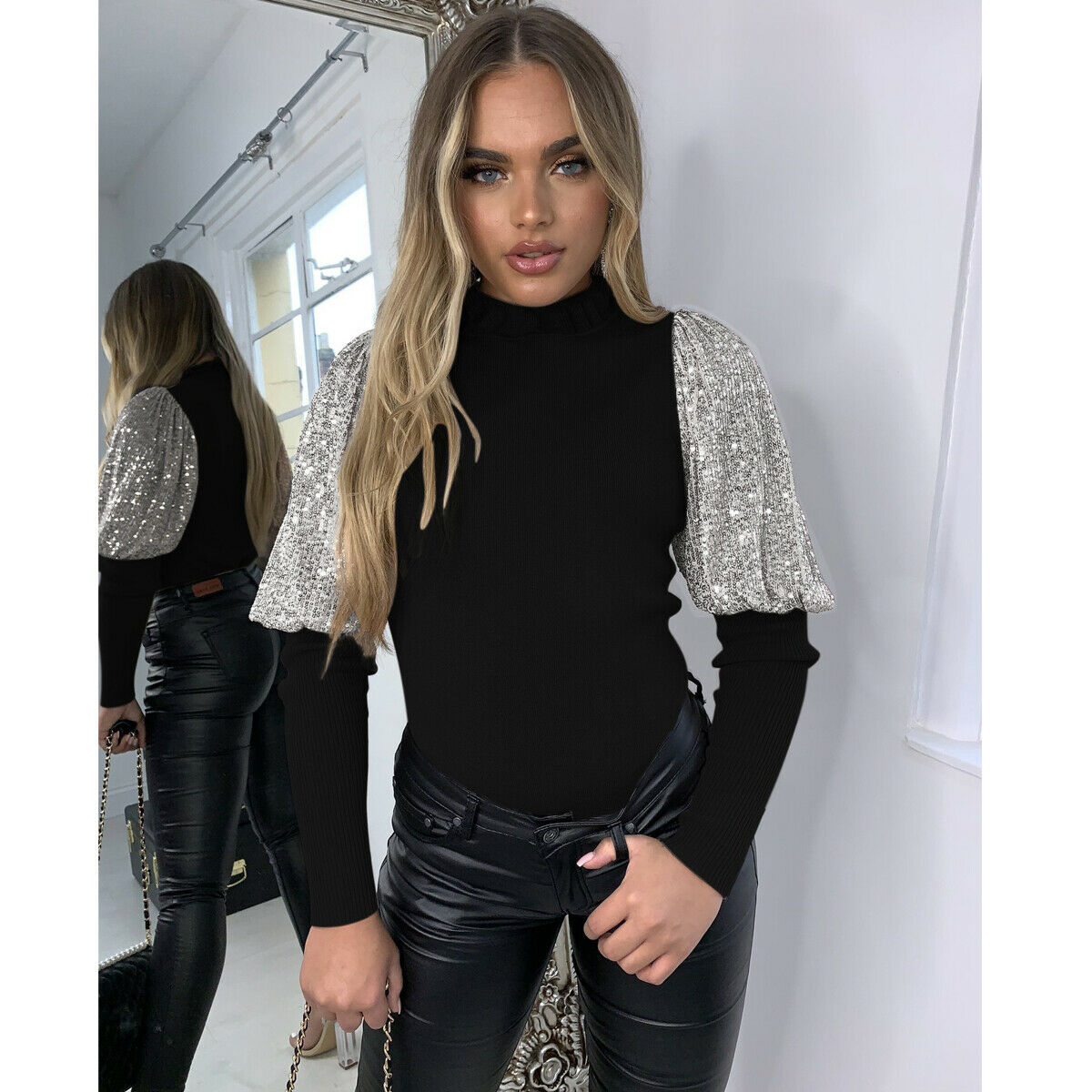 Women Ladies Sequined Sparkle Long Puff Sleeve Tops Pullover High Turtleneck Blouse Evening Party Club Slim Ribbed Shirt