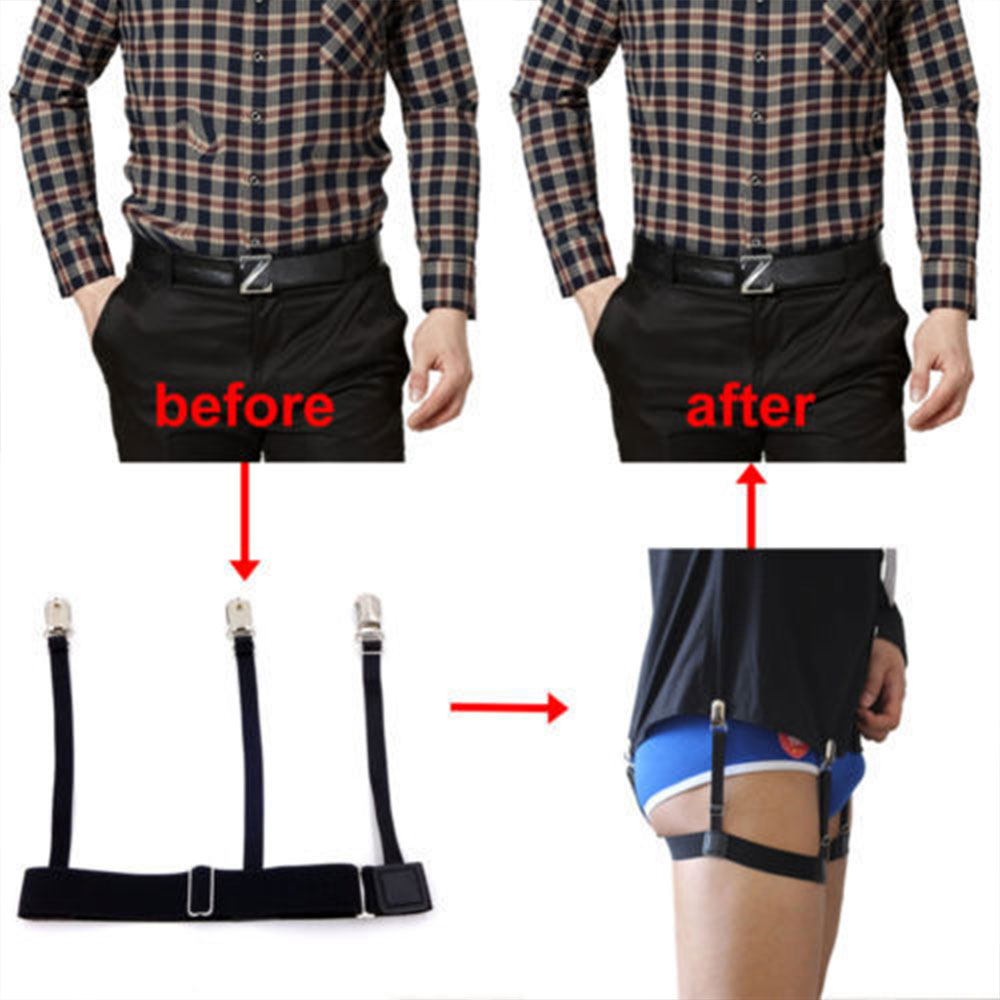 Men Shirt Stays Belt With Non-slip Locking Clips Keep Shirt Tidy Thigh Suspender Garters Strap Apparel Accessories
