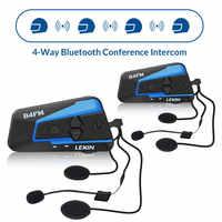 2 PCS Lexin 4 Weg Motobike, Motorrad Bluetooth Helm Headsets Intercom, FM BT intercomunicador kopfhörer MP3 interfone
