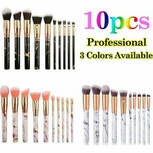 Makeup Brushes Set 10pcs Professional Marble Pattern with Blush Foundation Highlighter Brush Eyeshadow Concealer