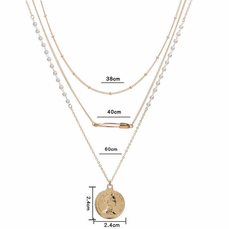 Bohemian 3 ชั้น Queen เหรียญสร้อยคอจี้ Vintage Pearl ลูกปัดโซ่สีดำชีวิตจี้สำหรับสตรีเครื่องประดับ