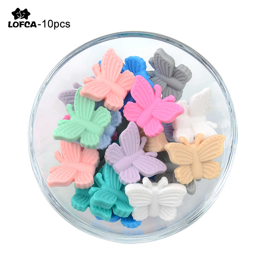 Manik Silikon 10 Pcs Butterfly Baby Teether Serangga Hewan Gigi Perhiasan BPA Free Pacifier Clip Making Tooler Mainan