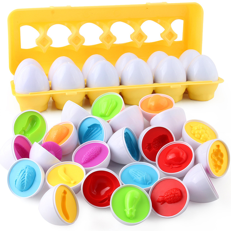 Montessori Baby Toys Shape Puzzle Smart Egg Early Education Wisdom Color Identification 12 Sets Fruit Vegetable Simulation Eggs