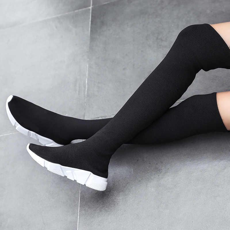 Femme bottes Long Tube chaussettes chaussures nouvelle femme mode Slim au-dessus du genou bottes pour femmes chaussures Basket hiver cuisse haute bottes