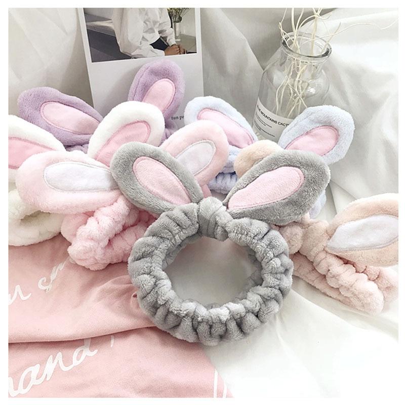 FFLACELL Fashion Flannel Soft Bowknot Rabbit Ears Headband Women Girls Turban Cute Holder Hairbands Wash Face Hair Accessories