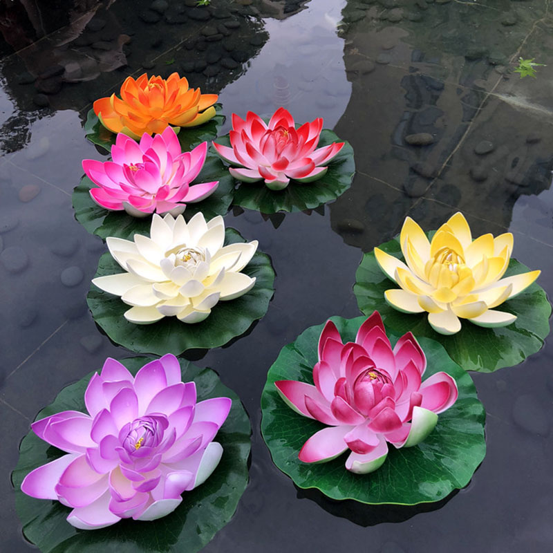 Artificial Flowers Fake Lotus EVA Lotus Flower Water Lily Floating Pool Plants Bonsai Garden Home Wedding Decoration Kwiaty
