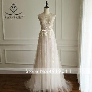 Image 5 - Boho rosa frisado apliques vestido de casamento 2020 swanskirt luxo lantejoulas tule princesa tribunal trem vestido de noiva robe de mariee a249