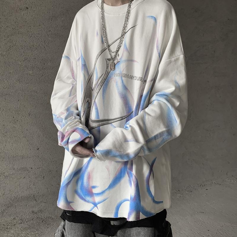 NiceMix Retro Ins Gothic Sweatshirt Women Letter Printing Casual O-neck Pullover Streetwear Hip Hop Loose Sweatshirts Femal Tops