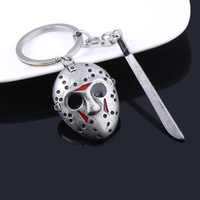Movie Friday the 13th Keychain Jason Mask Black Friday Cosplay Key Chain for Women Men Halloween Jewelry Gift