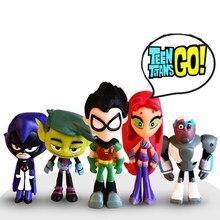 6 estilo/conjunto 5-8cm titãs ir robin cyborg besta menino raven starfire silkie seis mini figura de ação filme modelo brinquedos boneca