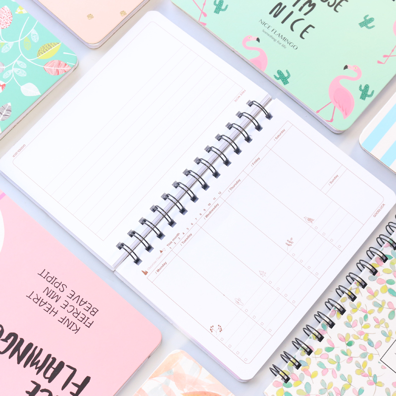 2020 Cute spiral school hardcover weekly planner notebook stateionery,candy student monthly planner
