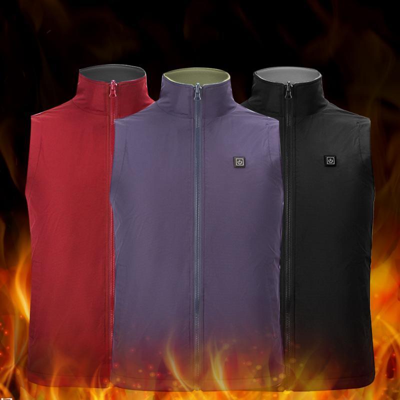 Carbon Fiber Electric Heating Vest Men Women Stand Collar Thermal Waistcoat Adjustable Temperature Soft Vest Winter Jacket Gift