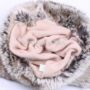 Image 5 - Sombrero de lana de invierno para mujer, gorro de lana tejida para nieve con Pompón, hoja de arce, gorra de aviador, orejeras de piel de zorro, forro polar ruso Ushanka