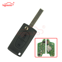 CE0523 Flip remote key 2 button HU83 434Mhz for Peugeot 207 307 407 807