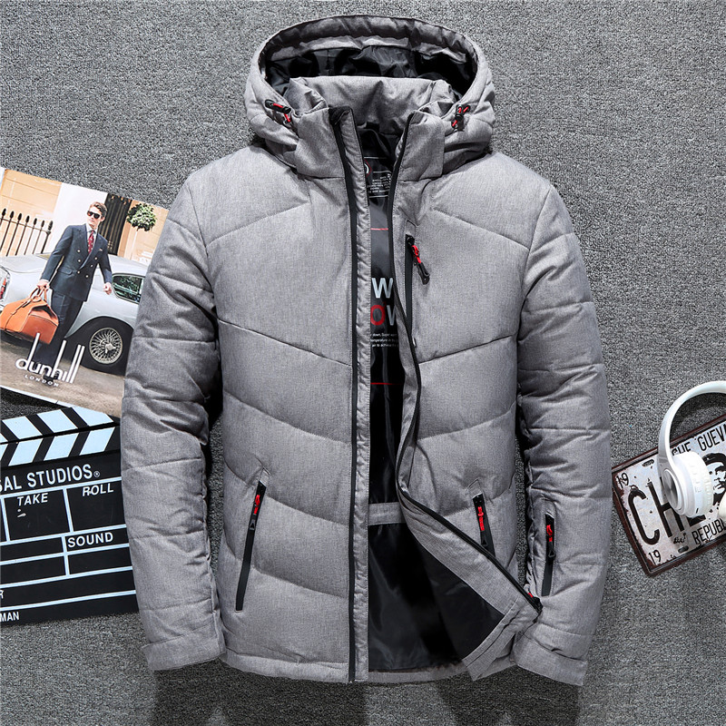 Image 4 - 2019 New Brand Winter Jacket Men Hat Detachable Zipper 90% White Duck Thick Down Jacket Men Coat Snow Parkas male 4 Colors-in Down Jackets from Men's Clothing