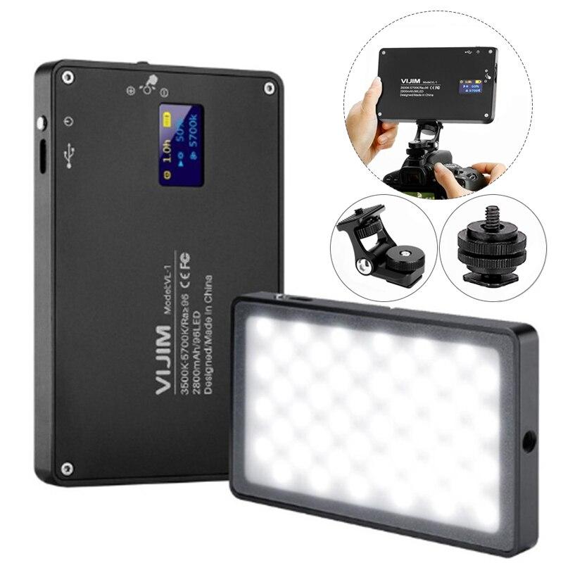 DSLR sur l'appareil photo Ultra Mince Dimmable LED Vidéo Lumière 96 pièces CRI96 O LED avec Batterie Sur Caméra DSLR Photographie Éclairage Lumière de Remplissage