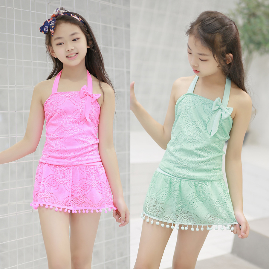 2019 Manufacturers New Style GIRL'S KID'S Swimwear Bow Princess One-piece Swimming Suit GIRL'S Swimsuit Tour Bathing Suit Wholes