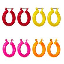 New Circle Candy Color Acrylic Earrings Women Young Girls Earring