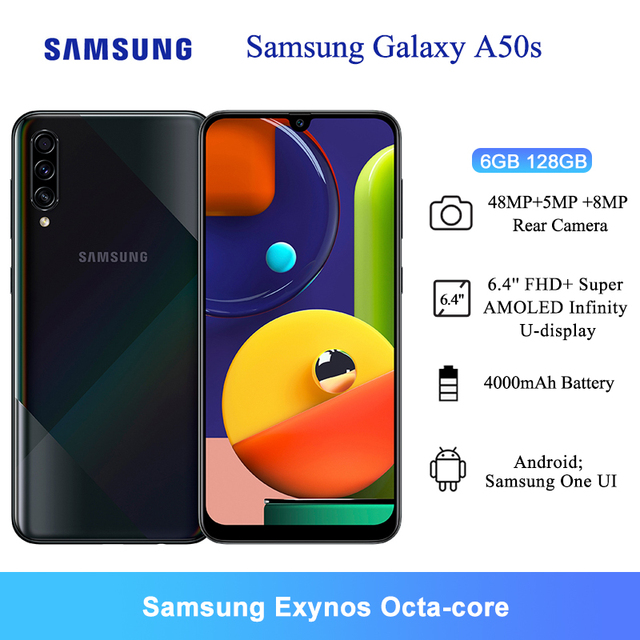 Samsung Galaxy A50s Mobile Phones NFC 6GB 128GB 6.4'' FHD+ Samsung Exynos Octa Core 48MP AI Triple Camera 4000mAh Cellphones 1