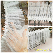 Delicate Water-soluble Ribbon Double-layer Mesh Pleated Lace Fabric DIY Clothes Neckline Cuff Skirt Trim Curtain Sofa Encajes