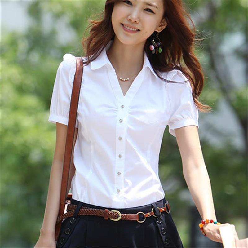 Women Shirts Elegant Women V-Neck White Shirt Plus Size Korean Fashion Cotton Blouses Shirts Office Lady Work Shirt 5xl Women