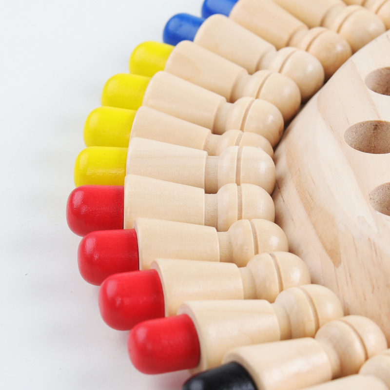 Kids Wooden Memory Match Stick Chess Fun Color Game Board Puzzles Educational Toy Cognitive Ability Learning Toys for Children 4