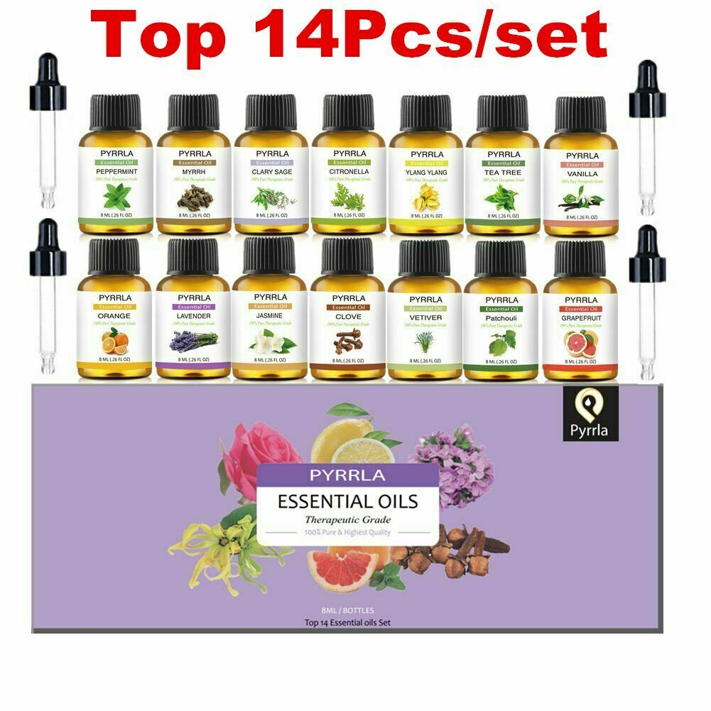 Pyrrla 8ml 14pcs Pure Essential Oil Gift Set with Oil Dropper Lavender Peppermint Patchouli Humidifier Diffuser Aromatherapy Oil
