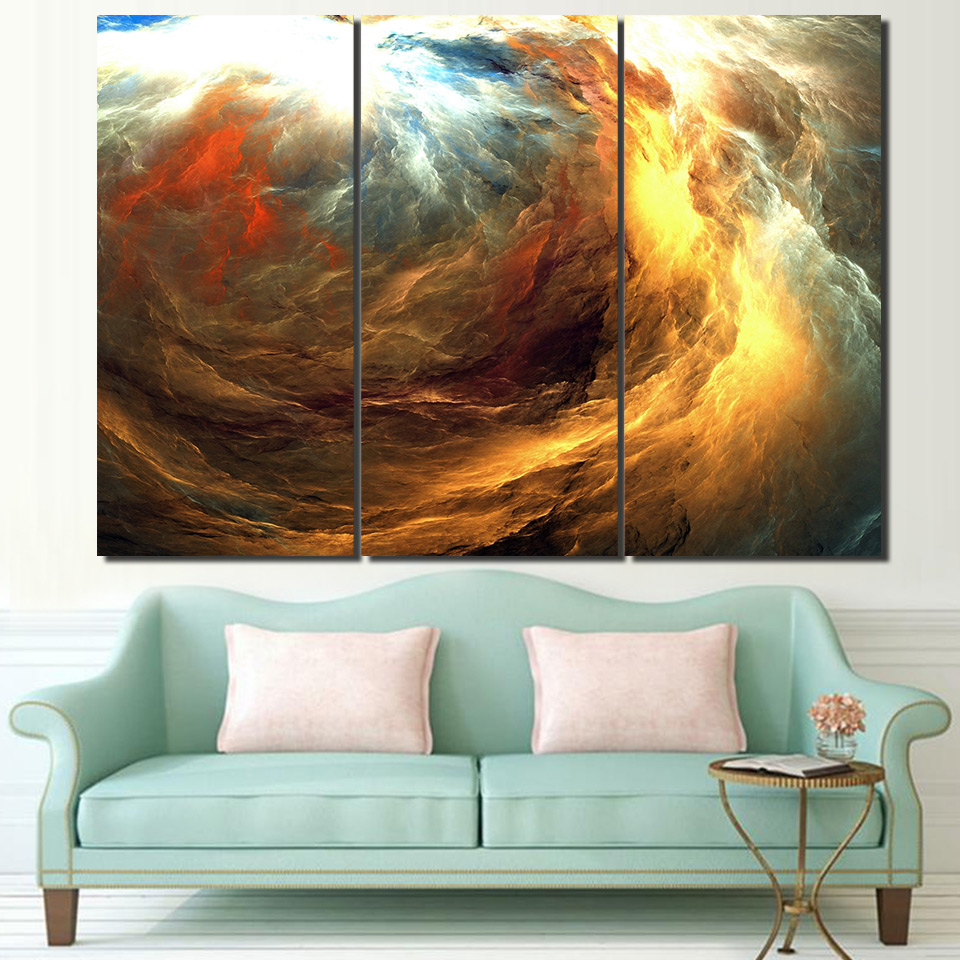 Canvas abstract painting psychedelic art space cloud Picture Posters print HD Printed 3 pieces wall art home decorg in Painting Calligraphy from Home Garden