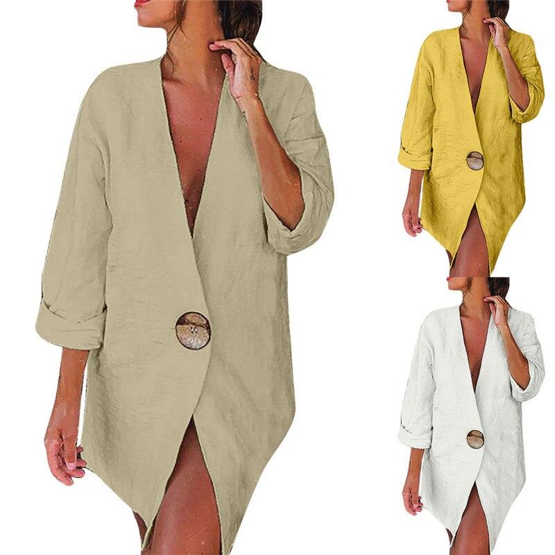 Осенний Женский приталенный Блейзер с длинными рукавами, верхняя одежда из хлопка и льна, Женское пальто, деловой костюм для работы, свободн...